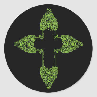Ornate Green Gothic Cross Round Sticker