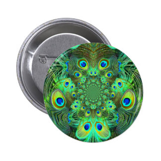 Ornate Green Peacock Feathers GIFTS 2 Inch Round Button