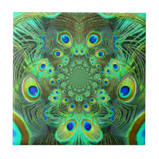 Ornate Green Peacock Feathers GIFTS Tiles