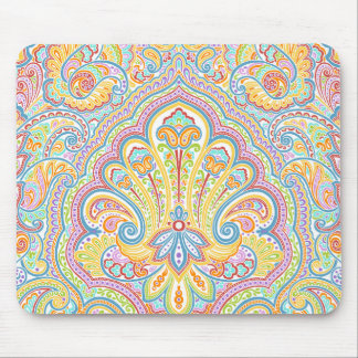 Ornate Hand Drawn Paisley Floral Motif Mouse Pad