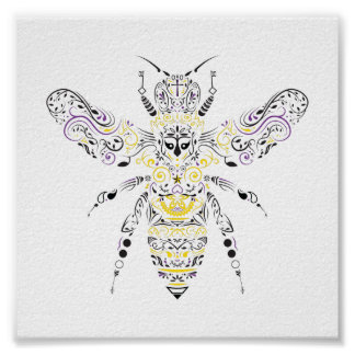 ornate honey bee poster
