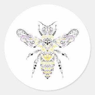 ornate honey bee round sticker
