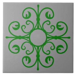 Ornate Ironwork in Green Tile