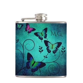 Ornate Jewel Butterflies Hip Flask