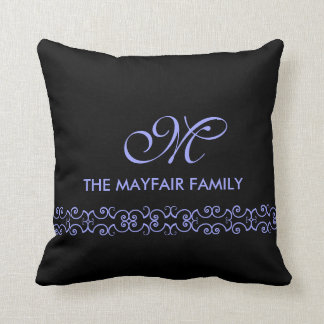 Ornate Lavender Purple Family Monogram Design Throw Pillow