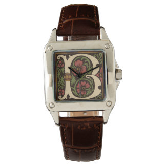 Ornate Letter B Monogram Croc Leather Wristwatch
