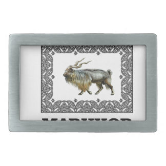 Ornate Markhor frame Rectangular Belt Buckle