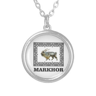 Ornate Markhor frame Silver Plated Necklace