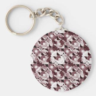 Ornate Modern Floral Basic Round Button Keychain