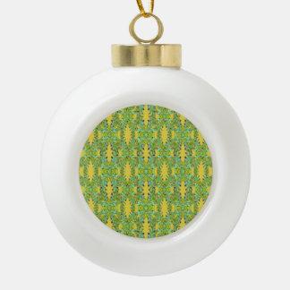 Ornate Modern Noveau Ceramic Ball Christmas Ornament