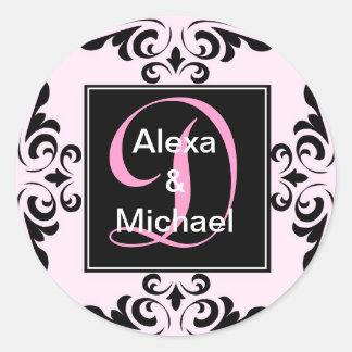 Ornate Monogram Letter D Pink Roses Sticker