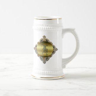 Ornate Monogram Stein 18 Oz Beer Stein