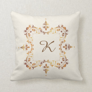 Ornate Monogram Throw Pillow with Copper Filigree