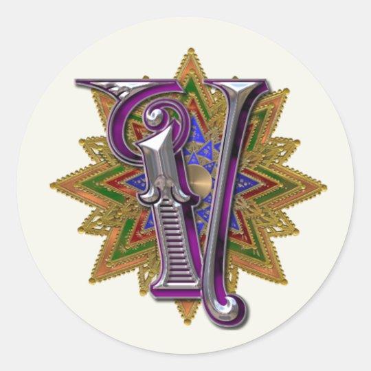 Ornate Monogram V Sticker