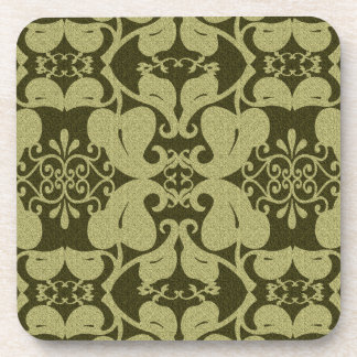 Ornate Olive Green  Coasters