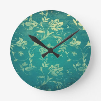 ornate oriental flower pattern round clock