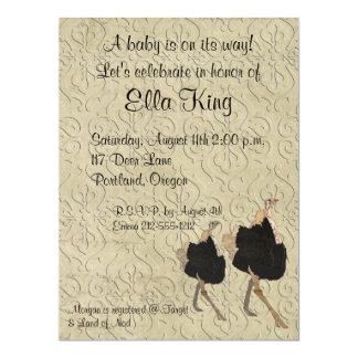 Ornate Ostrich Baby Invitation
