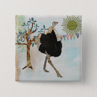 Ornate Ostrich Sunshine Button