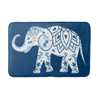 Ornate Patterned Blue Elephant Bath Mat