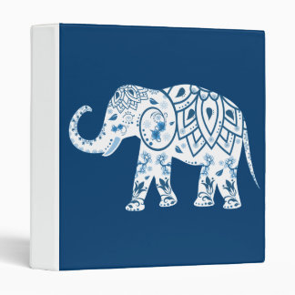 Ornate Patterned Blue Elephant Binders