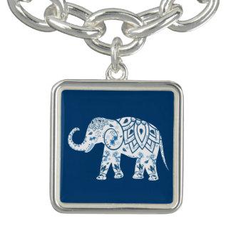 Ornate Patterned Blue Elephant Bracelets