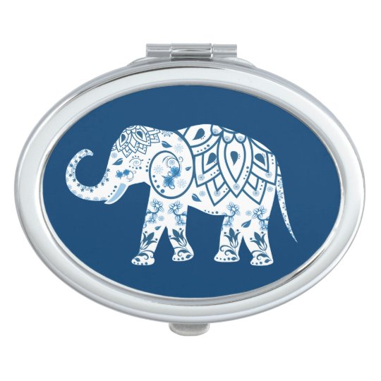Ornate Patterned Blue Elephant Compact Mirror