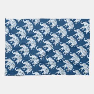 Ornate Patterned Blue Elephant Hand Towels