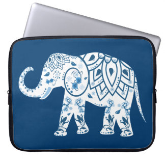 Ornate Patterned Blue Elephant Laptop Sleeve