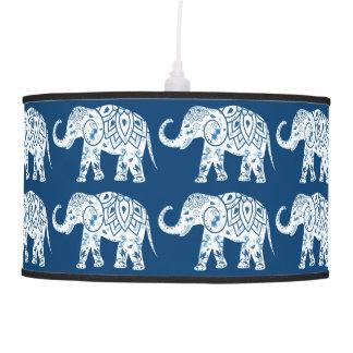 Ornate Patterned Blue Elephant Pendant Lamp