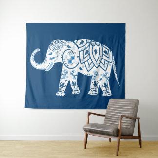 Ornate Patterned Blue Elephant Tapestry