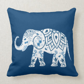 Ornate Patterned Blue Elephant Throw Pillow