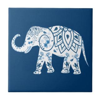 Ornate Patterned Blue Elephant Tiles