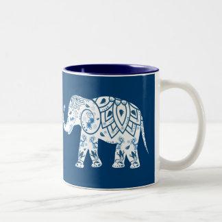 Ornate Patterned Blue Elephant Two-Tone Coffee Mug