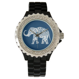Ornate Patterned Blue Elephant Watch