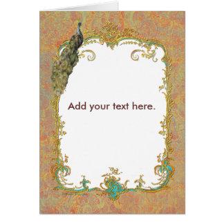 Ornate Peacock n Paisley Art Design Greeting Card