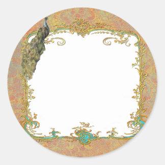 Ornate Peacock n Paisley Art Design Round Sticker