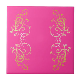 Ornate Pink Tile Gold Scroll Ornamental