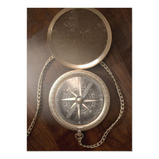 Ornate Pocket Compass Card