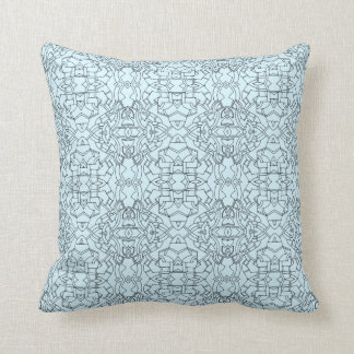 Ornate Powder Blue Geometric Pattern Throw Pillow