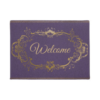 Ornate Purple and Gold Welcome Door Mat