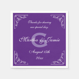 Ornate purple and white monogram wedding napkins paper napkin