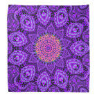 Ornate Purple Flower Vibrations Kaleidoscope Art Bandana