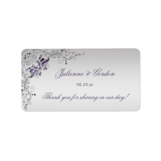 Ornate Purple Silver Floral Address Label