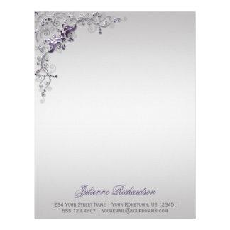 Ornate Purple Silver Floral Swirls Letterhead