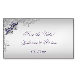Ornate Purple Silver Floral Swirls Save The Date Magnetic Business Card