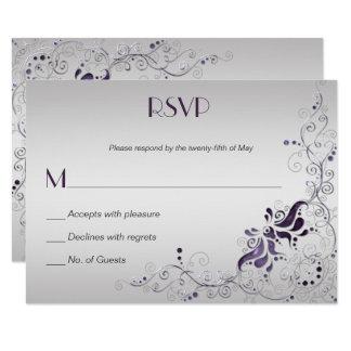 Ornate Purple Swirls on Silver RSVP Card