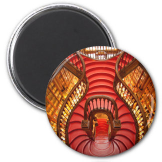 Ornate red stairway, Portugal 2 Inch Round Magnet