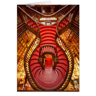 Ornate red stairway, Portugal Card