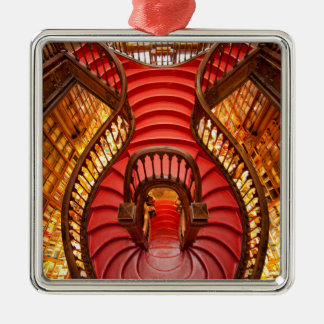 Ornate red stairway, Portugal Silver-Colored Square Ornament