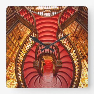 Ornate red stairway, Portugal Square Wall Clock